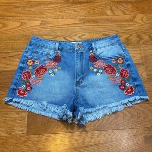 Forever21 Floral Embroidery Distressed Shorts
